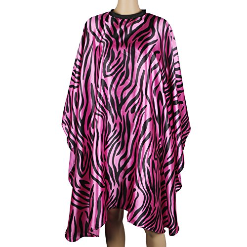 Barber Haircut Cape, Segbeauty Wasserdichter Frisiermantel Professionelle Haarfarbe Styling-Kittel mit Klettverschluss Friseursalon-Schutzschürze aus Satin - Rose Red Zebra-striped Zebra Rose