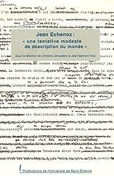Jean Echenoz : Une tentative modeste de description du monde