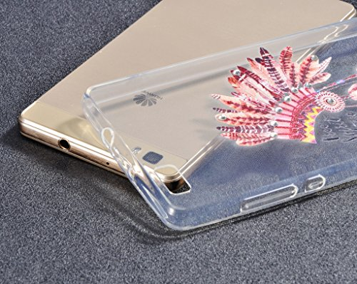 Cover Huawei P8 Lite,Custodia iPhone Huawei P8 Lite, Bonice Divertente Colorato Cristallo Bling Strass Fiore Trasparente Ultra Sottile Morbido TPU Gel Case Cover per Huawei P8 Lite , Campanula 02 model 03