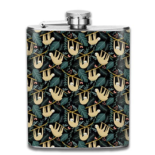 Sloth In The Jungle_598 Wine Flasks Hip Flask with Funnel Stainless Steel 7 OZ Multicolor
