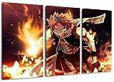 Fairytail, Natsu Motiv, 3-teilig auf Leinwand (Gesamtformat: 120x80 cm), Hochwertiger Kunstdruck als Wandbild. Billiger als ein Ölbild! ACHTUNG KEIN Poster oder Plakat!
