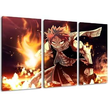 Fairytail Natsu photo, toile de 3 pièces (Total Taille: 120x80 cm), d'impression d'art de haute qualité comme une fresque. Moins cher qu'une peinture à l'huile! ATTENTION NO affiche!
