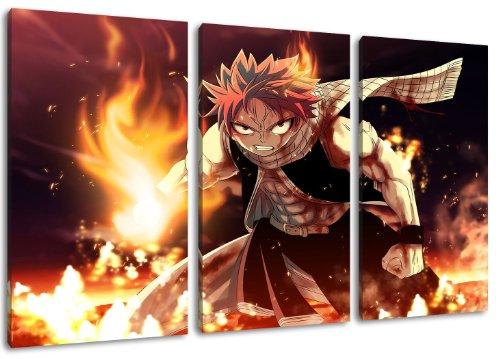 Fairytail, Natsu Motiv, 3-teilig auf Leinwand (Gesamtformat: 120x80 cm), Hochwertiger Kunstdruck als Wandbild. Billiger als ein Ölbild! ACHTUNG KEIN Poster oder Plakat! - Japan Anime-kunst-plakat