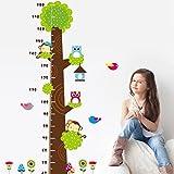 2015 Medidor de altura infantil con diseño de búho y mono y árboles para habitación infantil para niños de vinilo adhesivo para pared