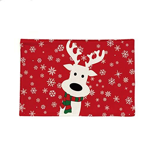 Leisial Set de Table Noël Placemat Napperon Tapis de Table en Coton Antidérapant Lavable Décoration de Table pour Dîner Salle à Manger