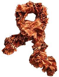 Toutacoo, Orange Print Velvet Boa Scarf