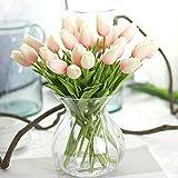 Sweetdecor 30 Stück Tulpen künstliche Blumen mit Blätter Dekoriere Kunstblumen Hochzeit Party Hause Blumenstrauß