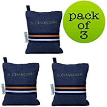 Dr. CHARCOAL Non Electric Air Purifier, Deodorizer and Dehumidifier for Cars, Bathrooms and Kitchen (200g, Pack of 3, Modish Neel)