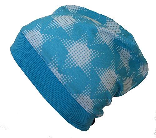 WOLLHUHN ÖKO Beanie-Mütze mit coolen Raster-Sternen blau/weiß (aus Öko-Stoffen,...