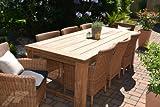 bomey Teak Sitzgruppe Garten Garnitur Tisch (240x100) und 8 Sessel/Stühle Rattan und recyceltes Teak Java Kor