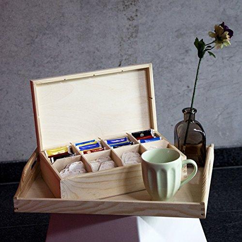 Teebeutelspender Tee-Box Teekasten 8 Fächer Teekiste Holzkiste natur 16,5 x 28,5 x 8 cm