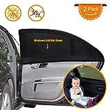 Parasole Auto per Bambini 2 pezzi, Tendine Parasole Auto per bambini baby con raggi UV/Protezione abbagliamento, tendina parasole auto bambini per Lato posteriore finestra auto nero
