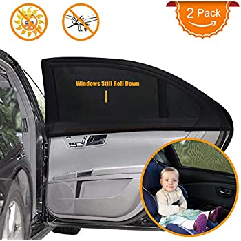 Jungle Print BABY 1ST Extra Large CAR Window Sun Shade Cover for Rear Side 2 PCS. Car Window Socks with UV Protection for Baby Children and Dog