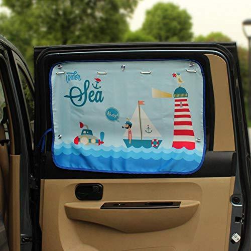 Keng Voiture Dessin animé Rideau Soleil bloquant la Voiture Rideau côté de la Voiture bloquant la Tension du Soleil Protection Parasol Rideau Enfants bébé Enfants véhicule Parasol en été