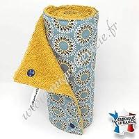 Essuie-tout lavable, coton imprimé Malawa turquoise, éponge moutarde.