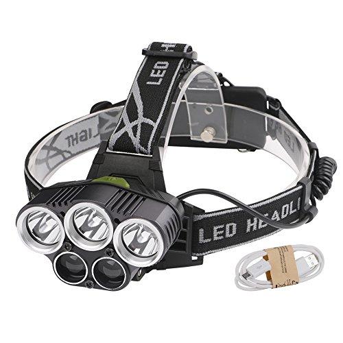 Preisvergleich Produktbild Linkax LED Stirnlampe LED Kopflampe 5 Licht Superheller 6 Lichtmodi Wasserdicht LED Stirnlampen LED Kopflampen Kopfleuchten für Nachtlese Campen Wandern Joggen Angeln (ohne 18650 Batterien)