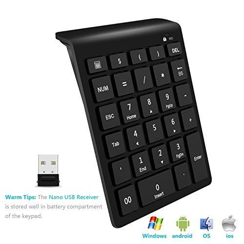 Rytaki Zifferntastatur, Portable 2.4G Wireless Numerische Tastatur mit Mehreren Shortcuts 28-Tasten Numpad Tastatur mit Nano-Empfänger für Laptop, PC, Desktop, Surfpro, Notebook, MacBook und Mehr -