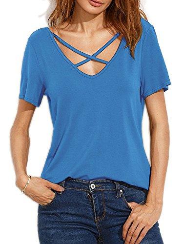 Suimiki Damen Sommer Kurzarm T-Shirt V-Ausschnitt mit Schnürung Vorne Oberteil Tops Bluse Shirt (L, Blau)