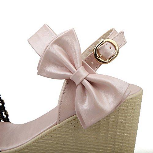 VogueZone009 Donna Tacco Alto Finta Pelle Scamosciata Colore Assortito Fibbia Punta Aperta Sandali Rosa