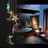 BALANSOHO Solar Mobile Windspiel Mond Stern Farbwechsel Wasserdicht LED Hängelampe Night Lights für Outdoor Garten-Home Dekoration