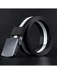 VANKER Correa de los hombres al aire libre de la lona con plástico automática Cinturón occidental de la correa de la correa -- negro y blanco