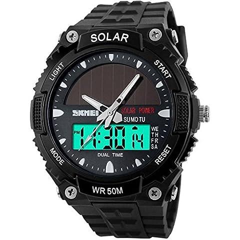 Funciona con energía solar de la So Ver Hombres Casual reloj de cuarzo Digital y analógica multifuncional reloj de pulsera deportivo Negro, color negro