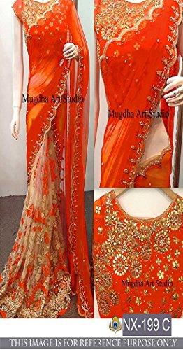 Sunshine Fashion Women's Georgette Saree With Blouse Piece (Sunsa1934-Fb_Orange)