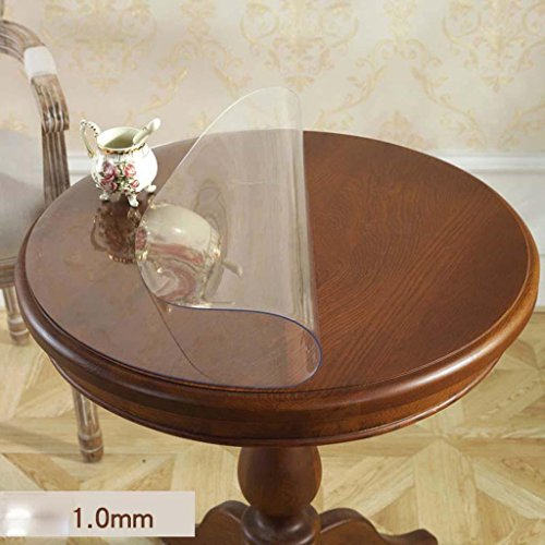 Chiffon de table transparent imperméable rond de PVC de verre mou , 1.0mm , diameter 80cm