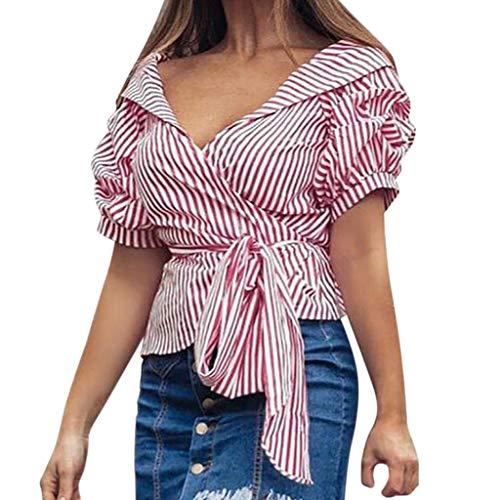 Zegeey Damen Oberteil T-Shirt Schulterfre Stretch Falten Kurzarm Streifen Verband Tiefem V-Ausschnitt Bluse Tank Tops Shirt Mit GüRtel Casual Frauen Mode 2019 (Rot,L)