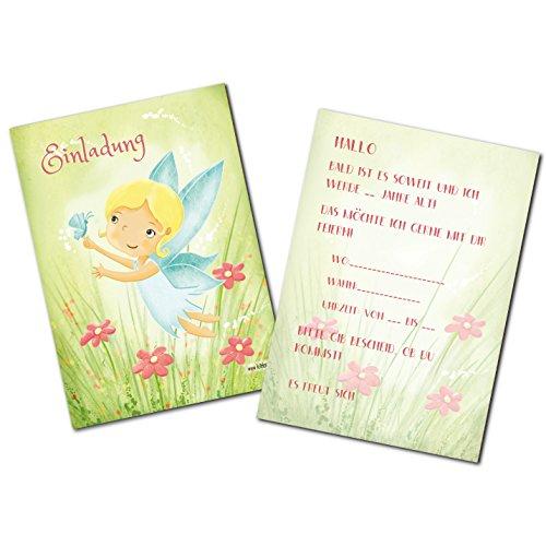 Kindergeburtstag Elfen Mädchen Geburtstag Fee Schmetterling Blumen Party Einladungskarten Geburtstagseinladung Kinder - Set zu 10 Stück - Illustration - 14,8 x 10,5 cm