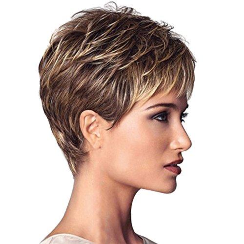 Sexy Kurze Lockige Frisuren (Natürliche Modische Gerade Kurze Perücke Damen Perücke, Mischung Farbe)