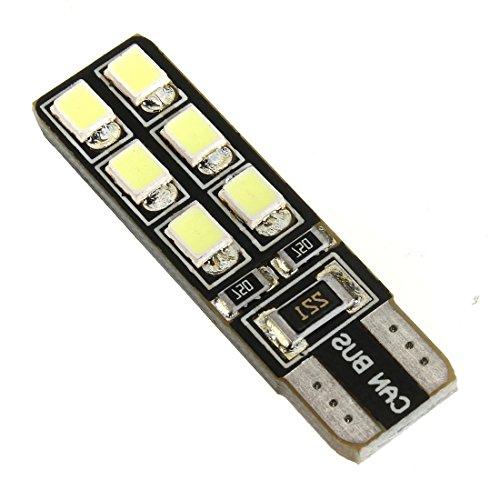 SODIAL 2 pieces CanBus T10 LED 2835 12 SMD W5W 194 168 Lampe d'Illumination Interieur de la voiture Feu arriere de Plaque D'immatriculation Lumiere de stationnement Blanc