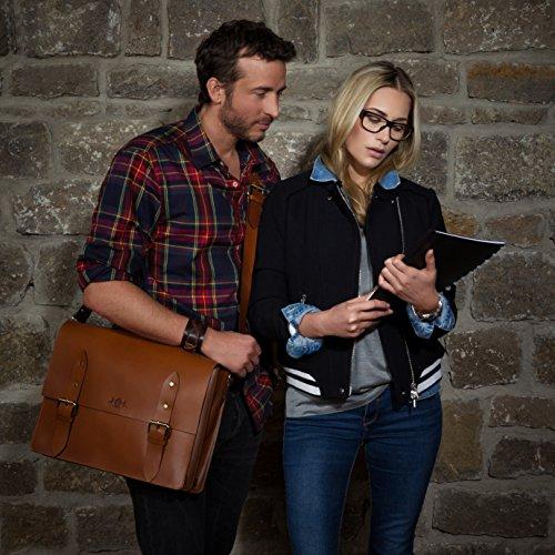 """SID & VAIN XL Aktentasche BRIGHTON - Laptoptasche XL fit für 15.4"""" mit Extra-Abtrennung- Businesstasche mit Schultergurt festes Material - echt Sattelleder schwarz schwarz"""
