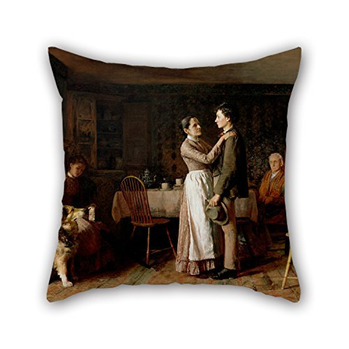 beautifulseason Oil Painting Thomas Hovenden, American (Born Ireland) - Breaking Home Ties Cushion Covers 18 X 18 Inches/45 by 45 cm Gift or Decor for Her Teens Boys Festival Lounge Lover Kids Ro -