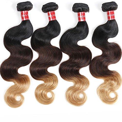 Haar Brasilianische Körper Welle 3 Ton Schwarz zu Braun zu Blonde Menschliche Jungfrau Haar Remy Haar Verlängerungen Weave , 24inch (Körper-wellen-brasilianische Haar -)