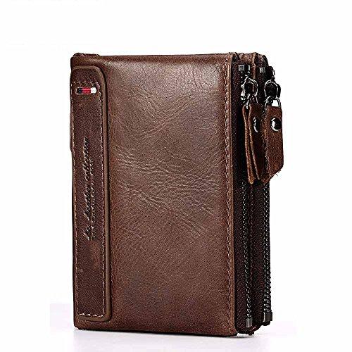 Doppel-brieftasche (AUMING Frauen Hand Fangen Echtes Leder MUL-Funktion Kurze Brieftasche Doppel-Reißverschluss Design Kartenhalter Brieftasche (Color : Brown))