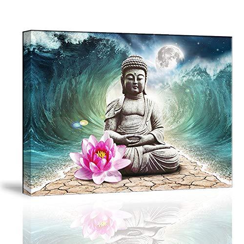 Piy Painting Buddha Leinwanddrucke Wandbilder Buddhismus Bilder und Kunstdrucke auf Leinwand Lotusblume Leinwandbild Deko für Wohnzimmer Schlafimmer Küche Weihnachten Geburtstagsgeschenk 30x40cm