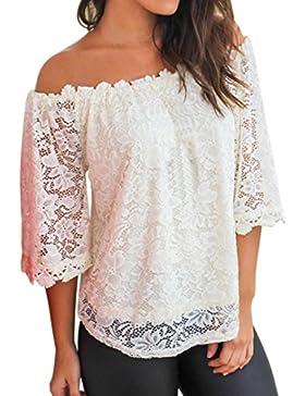 LuckyGirls Camisas Mujer Verano Manga Corta Expuesto Hombro Blanco Encaje Sexy Remeras Blusa Camisetas