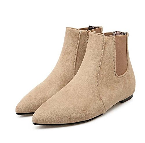 Frauen Spitz Flache Ferse Chelsea Stiefel Martin Stiefel Seude Gummiband Reine Farbe Kleid Stiefel Ankle Boots Eu Größe 34-43 ( Color : Beige , Size : 40 (not return) ) (Frauen-boot Beige)
