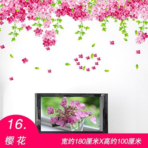 GOUZI Ehe die Raumdekoration Wallpaper Wallpaper Poster, 16 Cherry Blossom, König Wall Sticker abnehmbare Wall Sticker für Schlafzimmer Wohnzimmer Hintergrund Wand Bad Studie Friseur