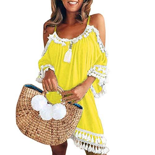 Kleid Damen Kolylong® Frauen elegant aus Schulter Blumen gedruckt Kleid Minikleid Party Kleid Strandkleid Abendkleid Sommer Kurzes Kleid Lip-cocktail-set