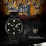 INFANTRY® Herren Analoges Quarzwerk Armbanduhr Datum Day Sport Schwarz Edelstahl Uhrenband World of Tanks - 3