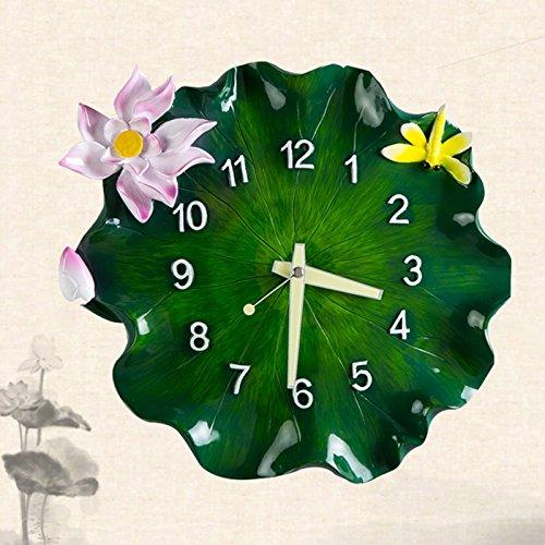 ASL Leuchtende Uhr Klassische Uhr Merkmale Lotus Blatt Kreativ Stumm Elegant Glocke Wohnzimmer Schlafzimmer Design 32x36cm Neu ( Farbe : A ) -