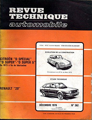 REVUE TECHNIQUE AUTOMOBILE N° 362 RENAULT 20 L / TL / GTL par E.T.A.I.