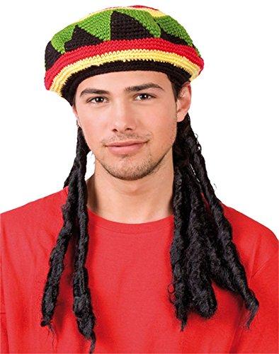 Islander Fashions Unisex sombrero jamaicano con peluca rastas Bob Marley Disfraces Adultos Fancy Hat Un tama�o