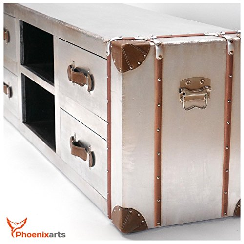 Phoenixarts Industrie Design Vintage TV Sideboard Schrank Aluminium Truhe Lowboard Loft Möbel 501 - 5