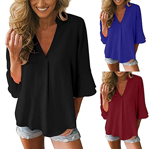 Lazzboy Womens Solid V Neck Casual Loose Peplum Sleeve Chiffon T Shirt Blouse Tops Swearshirt Long Sleeve