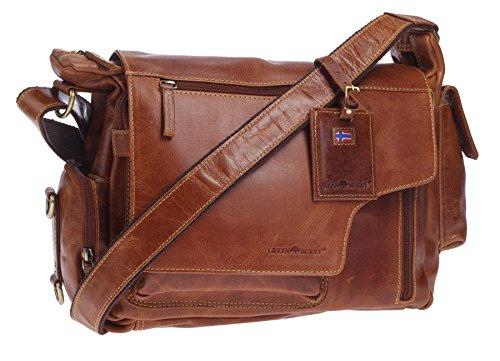 Greenburry Expedition Leder-Handtasche Ledertasche Umhängetasche - Echt Leder-Überschlagtasche - 39x28x13cm (Laptop-tasche Geldbörse Damen)