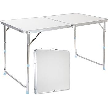 Finether Table de Jardin Pliant Portable en Aluminium Réglable en ...