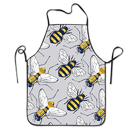Desing shop Men&Women Bee Flying Insect Chef&Cook Kitchen Bib Apron Waterproof Perfect for Cooking,Baking,Crafting,BBQ 28.3